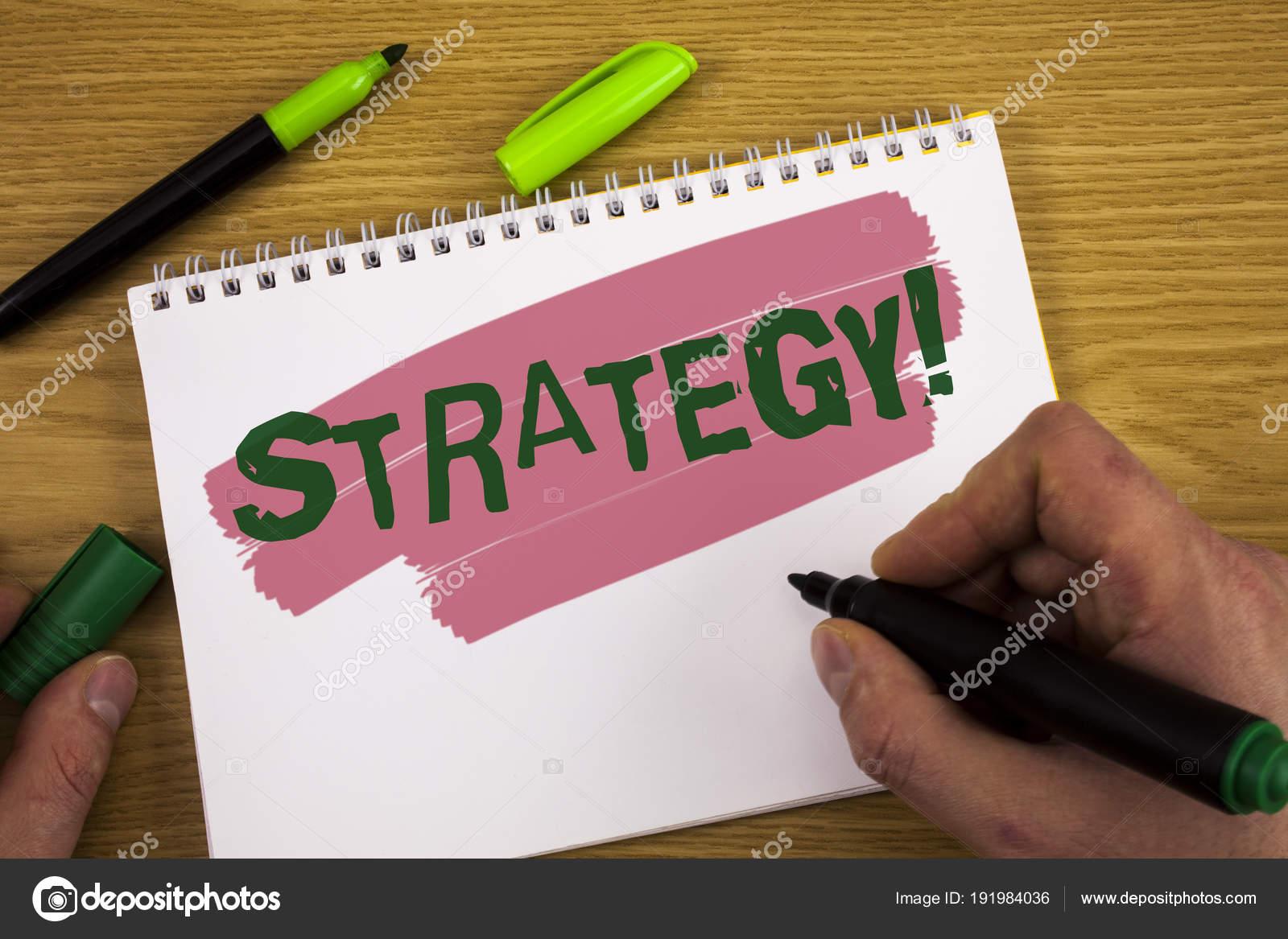Conceitual Mão Escrevendo Mostrando Estratégia Motivacional