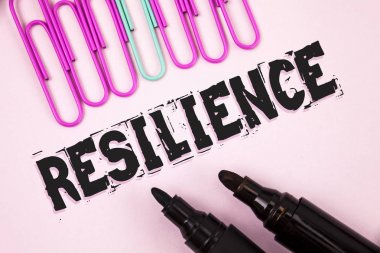 Handwriting text Resilience. Concept meaning Capacity to recover quickly from difficulties Persistence written on Plain Pink background Paper Pins and Markers next to it.
