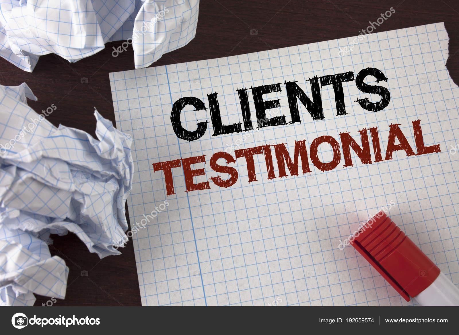 Testo di scrittura word clienti testimonial concetto di business