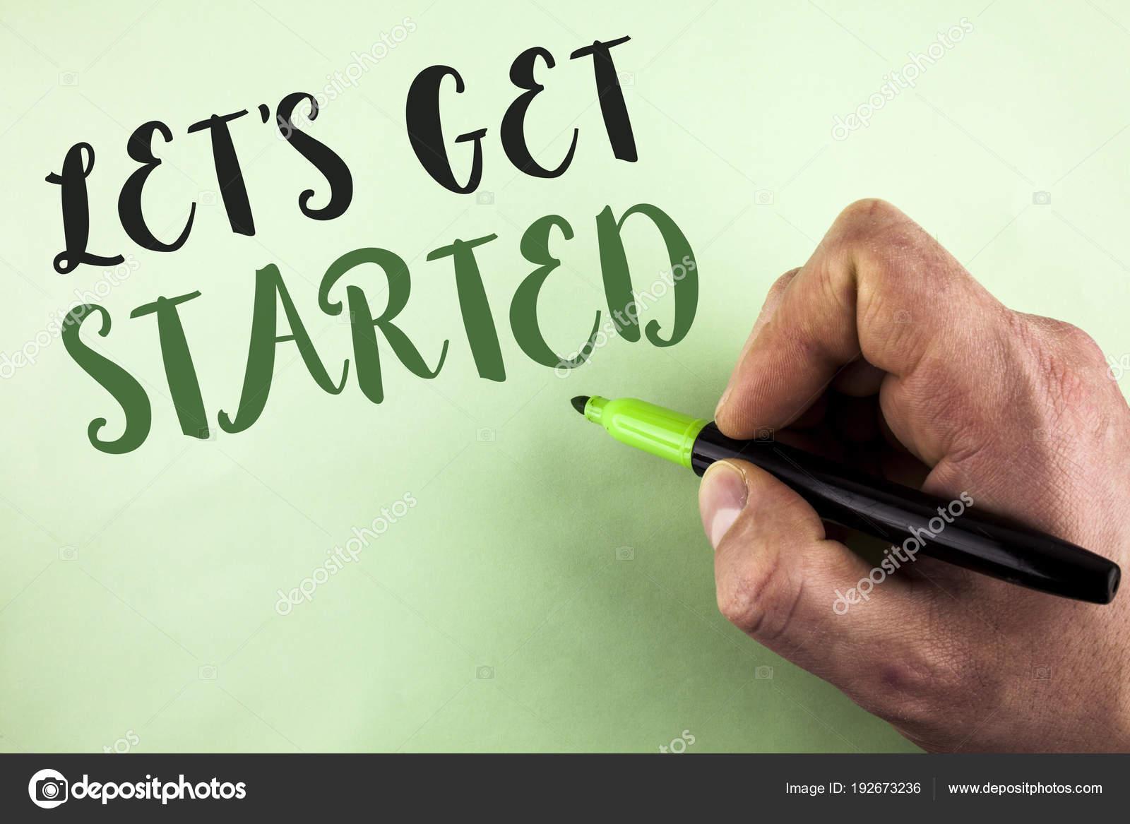 Segno Di Testo Risultati Lets Get Started Foto Concettuale Inizio
