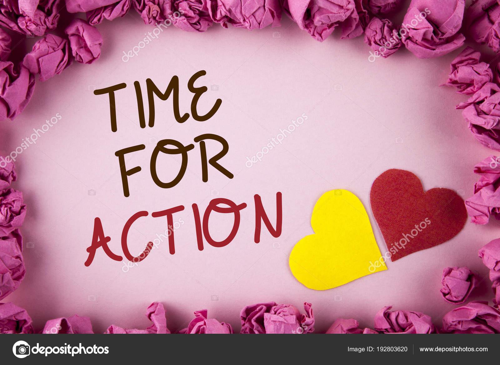 Word escribir texto tiempo para la acción. Concepto de negocio para ...