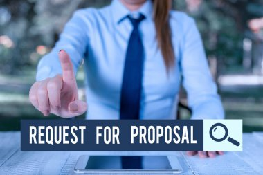 Handwriting text writing Request For Proposal. Concept meaning document contains bidding process by agency or company Female business person sitting by table and holding mobile phone.