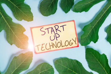 Text sign showing Start Up Technology. Conceptual photo Young Technical Company initially Funded or Financed Leaves surrounding notepaper above an empty soft pastel table as background.