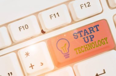 Text sign showing Start Up Technology. Conceptual photo Young Technical Company initially Funded or Financed.