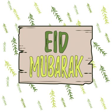 Handwriting text Eid Mubarak. Conceptual photo traditional Muslim greeting reserved for the holy festivals Wooden square plank empty frame slots grooves wood panel colored board lumber stock vector