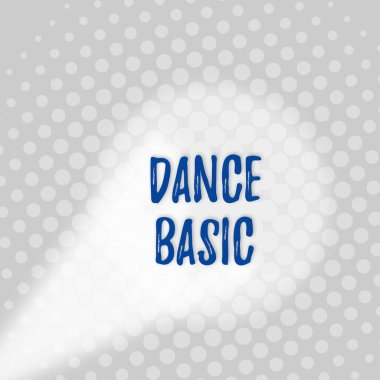 Text sign showing Dance Basic. Conceptual photo activity that utilizes the body and the range of movement Grey Tiny Circles Getting Smaller it Fades Centered Round Blank Rectangular.