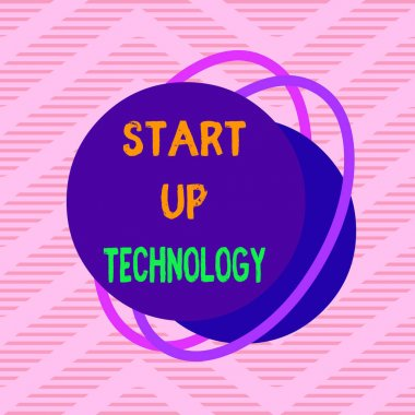Handwriting text Start Up Technology. Concept meaning Young Technical Company initially Funded or Financed Asymmetrical uneven shaped format pattern object outline multicolour design.
