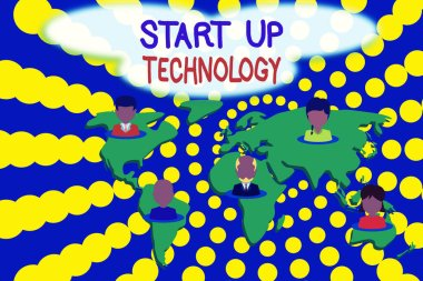 Word writing text Start Up Technology. Business concept for Young Technical Company initially Funded or Financed Connection multiethnic persons all over world. Global business earth map.