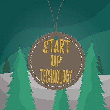 Word writing text Start Up Technology. Business concept for Young Technical Company initially Funded or Financed Badge circle label string rounded empty tag colorful background small shape.