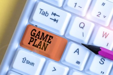 Word writing text Game Plan. Business concept for strategy worked out in advance in sport politics or business White pc keyboard with empty note paper above white background key copy space.