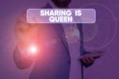 Znak textu zobrazeno sdílení je královna. Konceptuální fotografie dát další informace nebo patří je výborná kvalita.