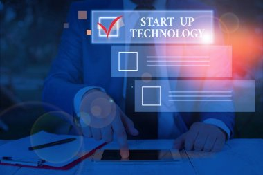 Conceptual hand writing showing Start Up Technology. Business photo text Young Technical Company initially Funded or Financed.