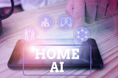 Text sign showing Home Ai. Conceptual photo home solution that enables automating the bulk of electronic.