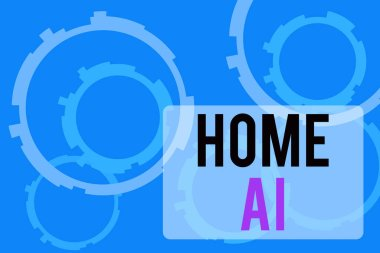 Text sign showing Home Ai. Conceptual photo home solution that enables automating the bulk of electronic Abstract Texture background with gears plain color behind. Gradient Pattern.