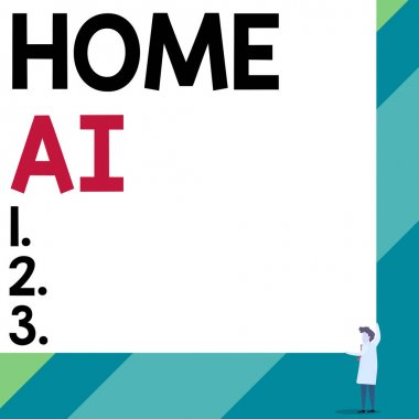 Handwriting text Home Ai. Concept meaning home solution that enables automating the bulk of electronic Front view young woman holding two hands right corner big blank rectangle.