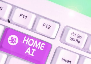 Word writing text Home Ai. Business concept for home solution that enables automating the bulk of electronic.