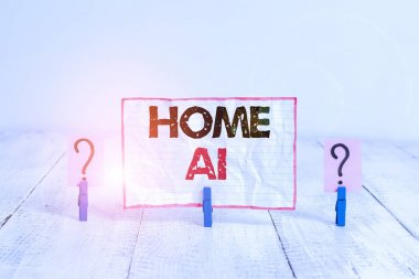 Handwriting text Home Ai. Concept meaning home solution that enables automating the bulk of electronic Scribbled and crumbling sheet with paper clips placed on the wooden table.