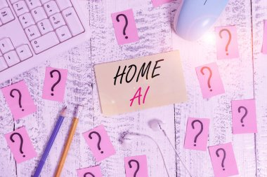 Word writing text Home Ai. Business concept for home solution that enables automating the bulk of electronic Writing tools, computer stuff and scribbled paper on top of wooden table.
