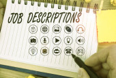 Handwriting text writing Job Descriptions. Concept meaning a formal account of an employee s is responsibilities.