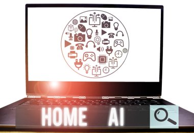 Conceptual hand writing showing Home Ai. Business photo showcasing home solution that enables automating the bulk of electronic.