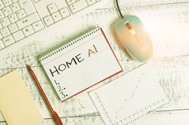 Handwriting text Home Ai. Concept meaning home solution that enables automating the bulk of electronic Writing equipments and computer stuffs placed above classic wooden table.