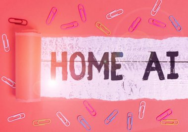 Text sign showing Home Ai. Conceptual photo home solution that enables automating the bulk of electronic Paper clip and torn cardboard placed above a wooden classic table backdrop.