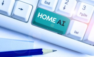 Writing note showing Home Ai. Business photo showcasing home solution that enables automating the bulk of electronic.