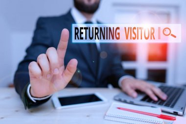 Word writing text Returning Visitor. Business concept for when someone returns to your website multiple times Male human wear formal clothes present presentation use hi tech smartphone.