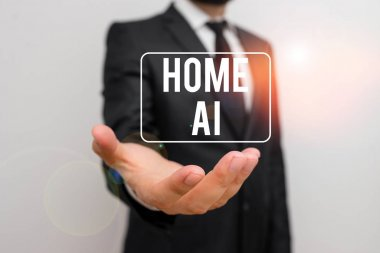 Writing note showing Home Ai. Business photo showcasing home solution that enables automating the bulk of electronic Male human with beard wear formal working suit clothes hand.