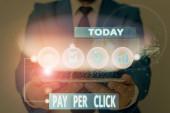Slovo psaní textu Pay Per Click. Obchodní koncept pro internetový reklamní Model Search Engine marketing strategie.