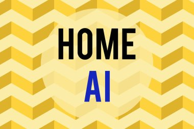 Text sign showing Home Ai. Conceptual photo home solution that enables automating the bulk of electronic Seamless wavy lines pattern. Abstract texture zigzag waving. Geometric.
