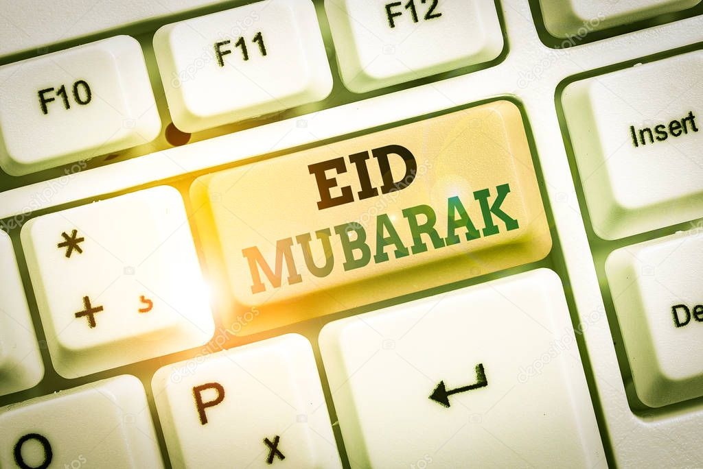 Text sign showing Eid Mubarak. Business photo showcasing traditional Muslim greeting reserved for the holy festivals stock vector