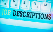 Word writing text Job Descriptions. Business photo showcasing a formal account of an employee s is responsibilities