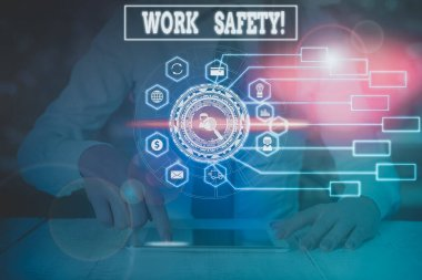 Writing note showing Work Safety. Business concept for policies and procedures in place to ensure health of employees Woman wear formal work suit present using smart latest device