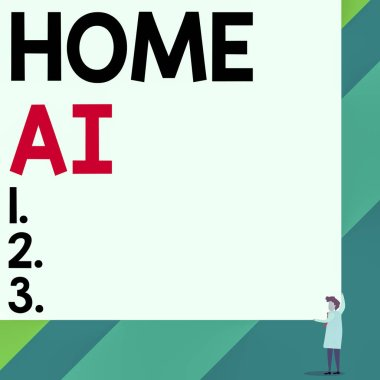 Handwriting text Home Ai. Conceptual photo home solution that enables automating the bulk of electronic Front view young woman holding two hands right corner big blank rectangle