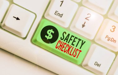 Writing note showing Safety Checklist. Business concept for list of items you need to verify, check or inspect