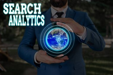 Text sign showing Search Analytics. Business photo showcasing investigate particular interactions among Web searchers Elements of this image furnished by NASA