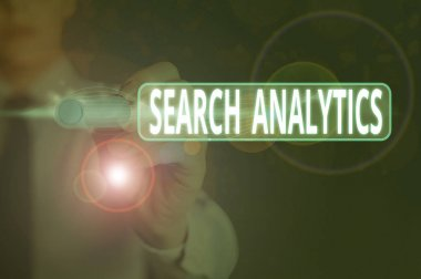 Writing note showing Search Analytics. Business concept for investigate particular interactions among Web searchers