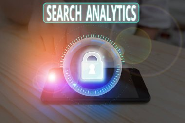 Text sign showing Search Analytics. Business photo showcasing investigate particular interactions among Web searchers