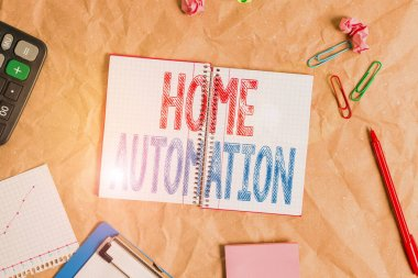 Handwriting text Home Automation. Conceptual photo home solution that enables automating the bulk of electronic Papercraft craft paper desk square spiral notebook office study supplies