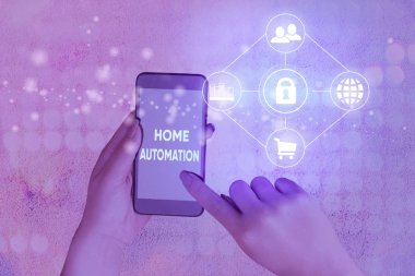 Conceptual hand writing showing Home Automation. Concept meaning home solution that enables automating the bulk of electronic
