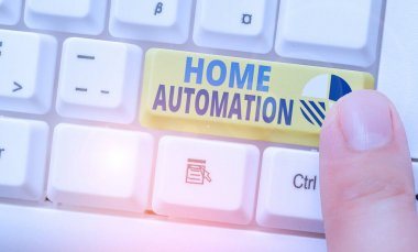 Text sign showing Home Automation. Business photo showcasing home solution that enables automating the bulk of electronic