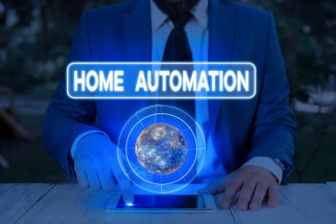 Handwriting text writing Home Automation. Concept meaning home solution that enables automating the bulk of electronic Elements of this image furnished by NASA.