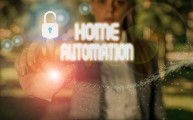 Conceptual hand writing showing Home Automation. Business photo text home solution that enables automating the bulk of electronic.