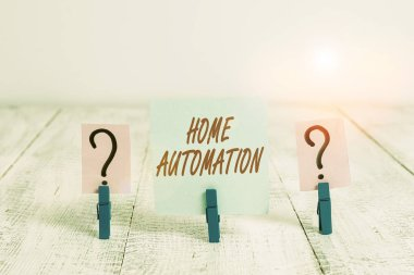Word writing text Home Automation. Business photo showcasing home solution that enables automating the bulk of electronic Scribbled and crumbling sheet with paper clips placed on the wooden table
