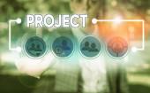 Konceptuální ručně psaného textu zobrazení projektu. Obchodní fotografie představí plánované pracovní činnosti studium tvůrčí práci určitou.