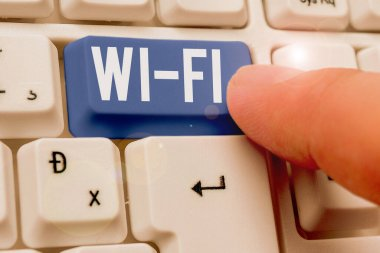 Word writing text Wi Fi. Business concept for radio technologies commonly used for wireless local area networking.
