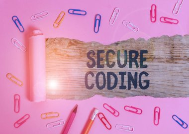 Handwriting text Secure Coding. Concept meaning Applied to avoid the introduction of security vulnerabilities.