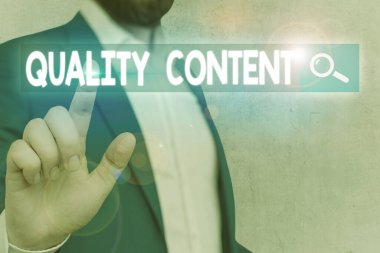 Word writing text Quality Content. Business concept for content that delivers value and consists of great writing.