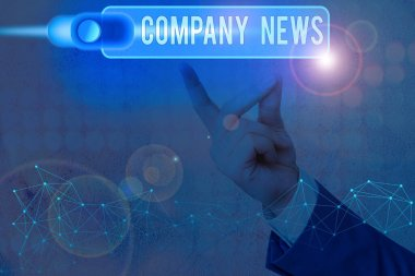 Conceptual hand writing showing Company News. Business photo text provides news and feature articles about the company status.